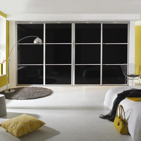 Black sliding wardrobes