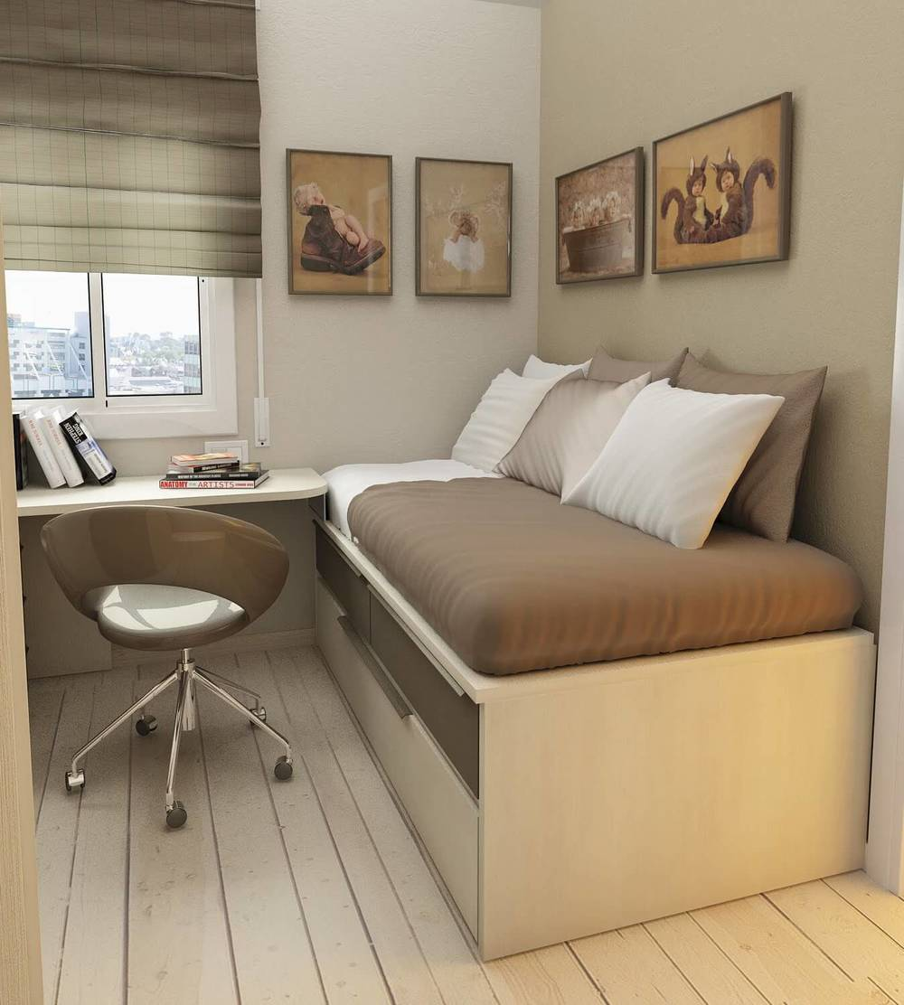 Multi functional room; Office desk and single bed into small room
