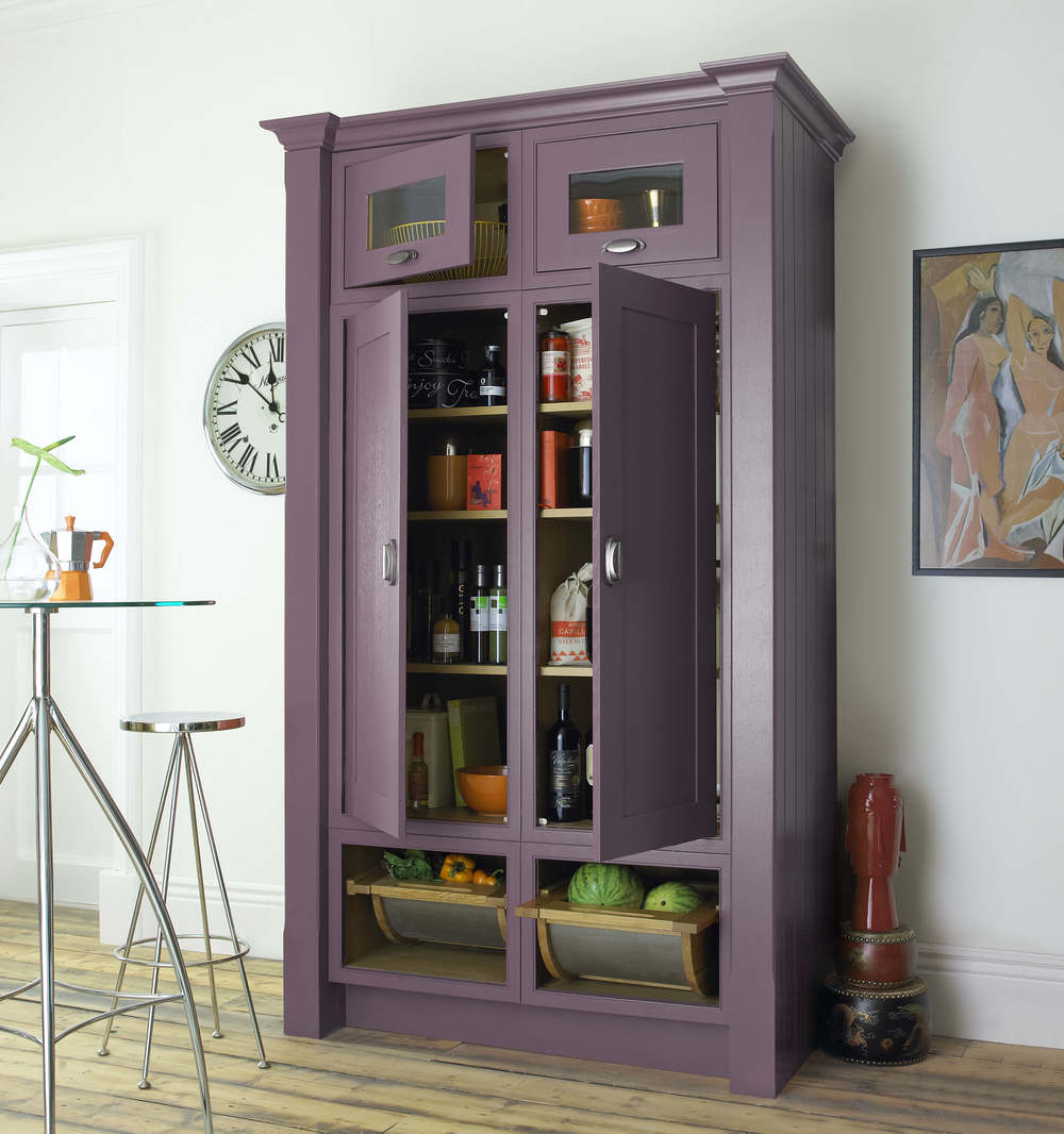 Freestanding Larder in Flame Red 0R Plum