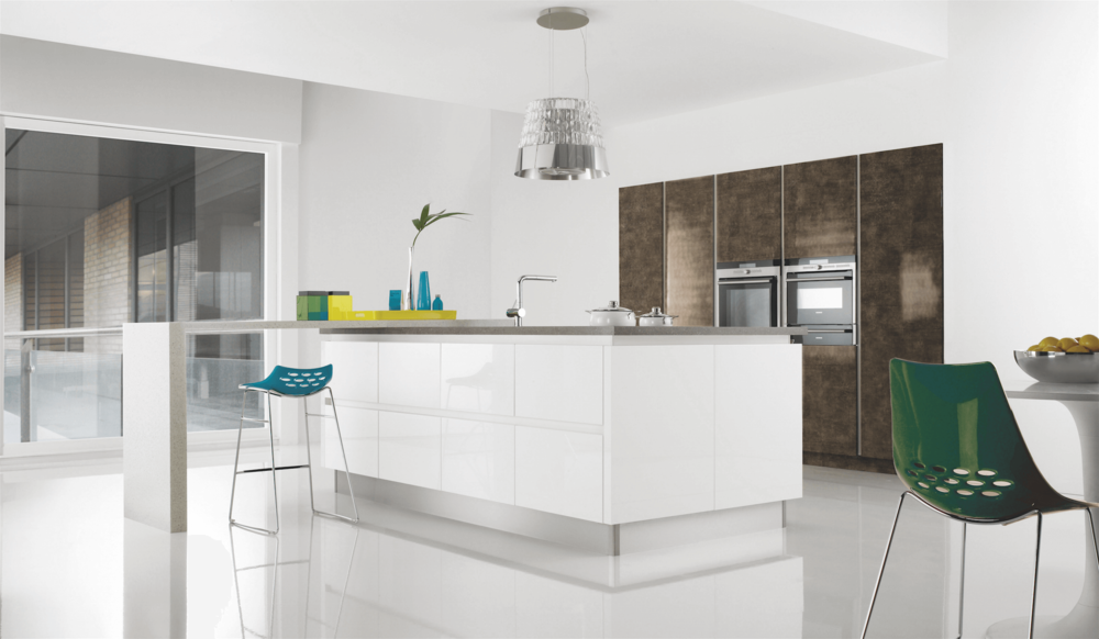 Futura Gloss Bronze & Gloss White Kitchen