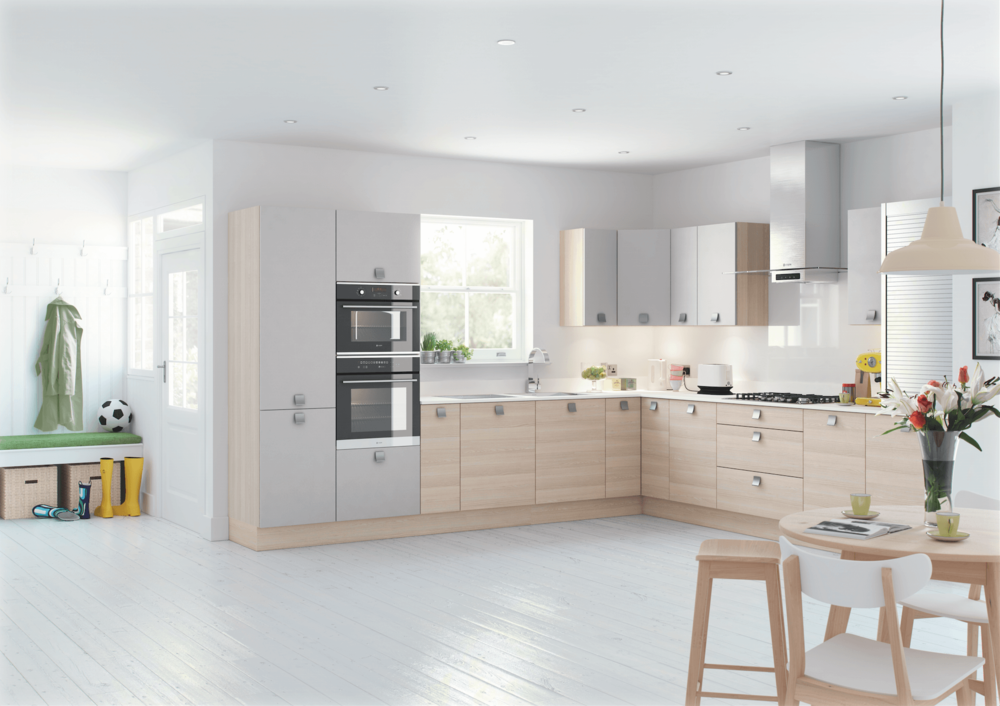 Lastra Light Ash and Light Grey Fitted Kitchens