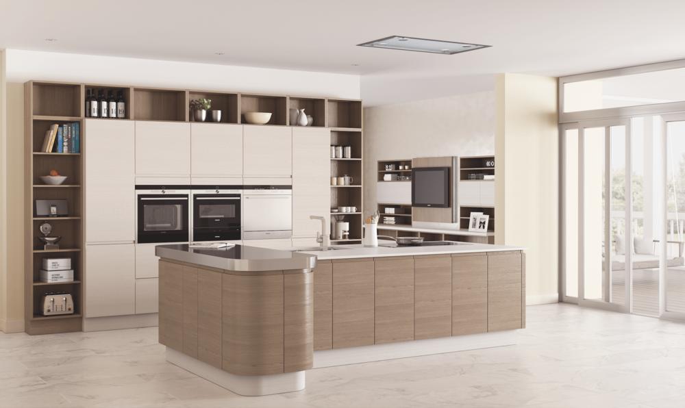 Modern Kitchen in Walnut and Cream Gloss