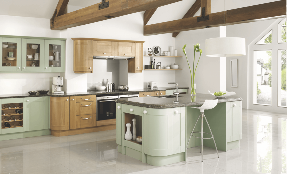 Traditional Fitted Kitchen with Curved Base Units