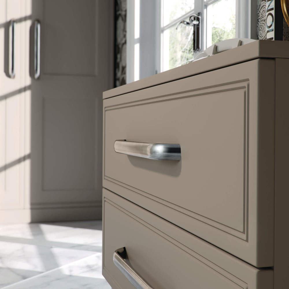 Stone grey bedroom drawer units