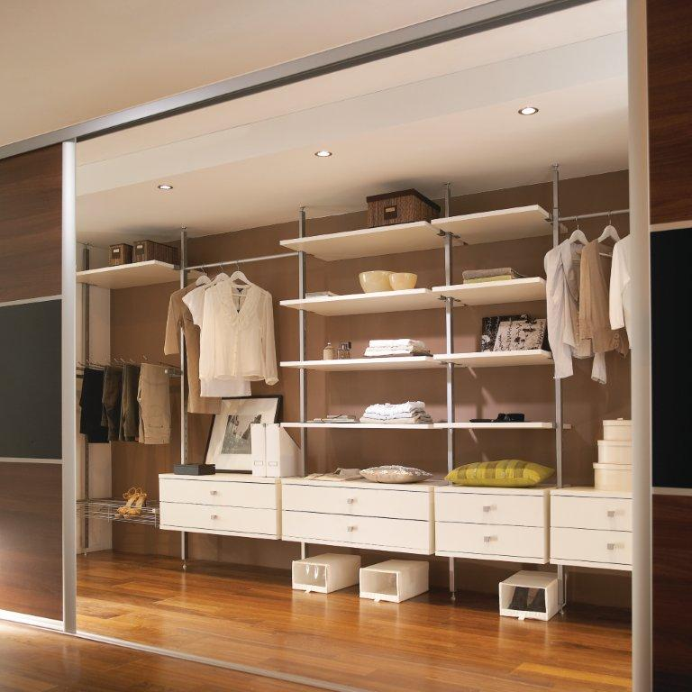 Sliding wardrobes with shelves