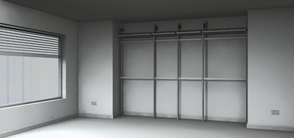 Sliding wardrobes with hanging rails
