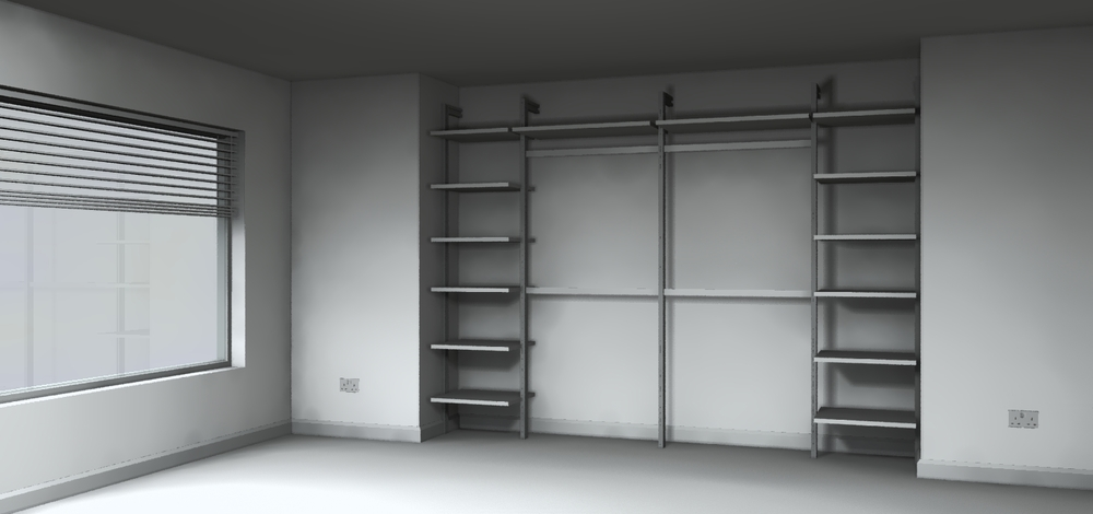 Sliding wardrobes with shelving interior