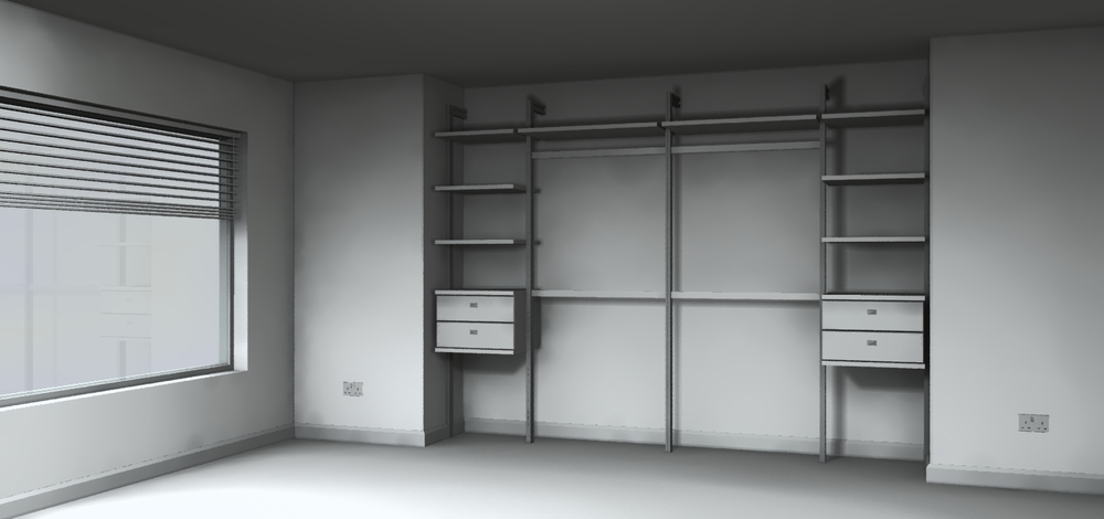 Sliding wardrobes with drawers