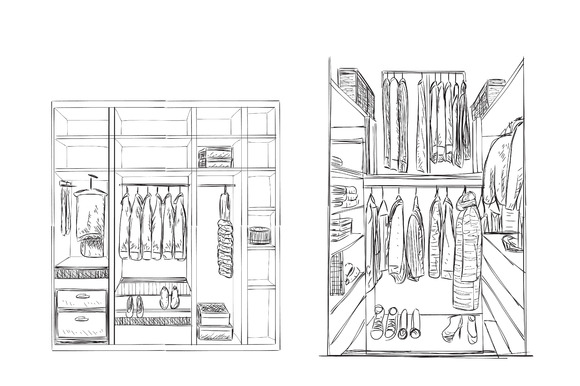 Sketch of a sliding wardrobe