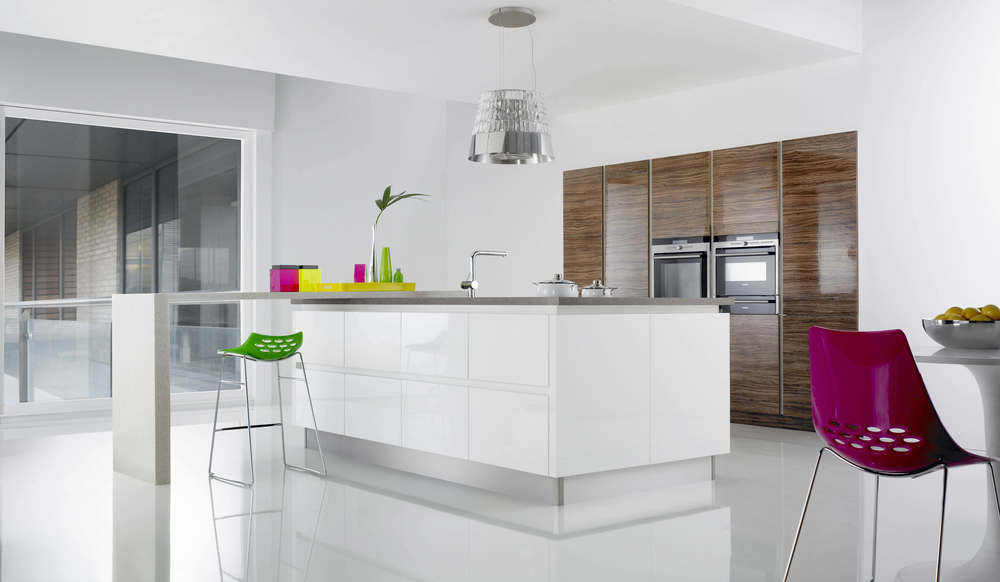 White kitchen island with pendant light