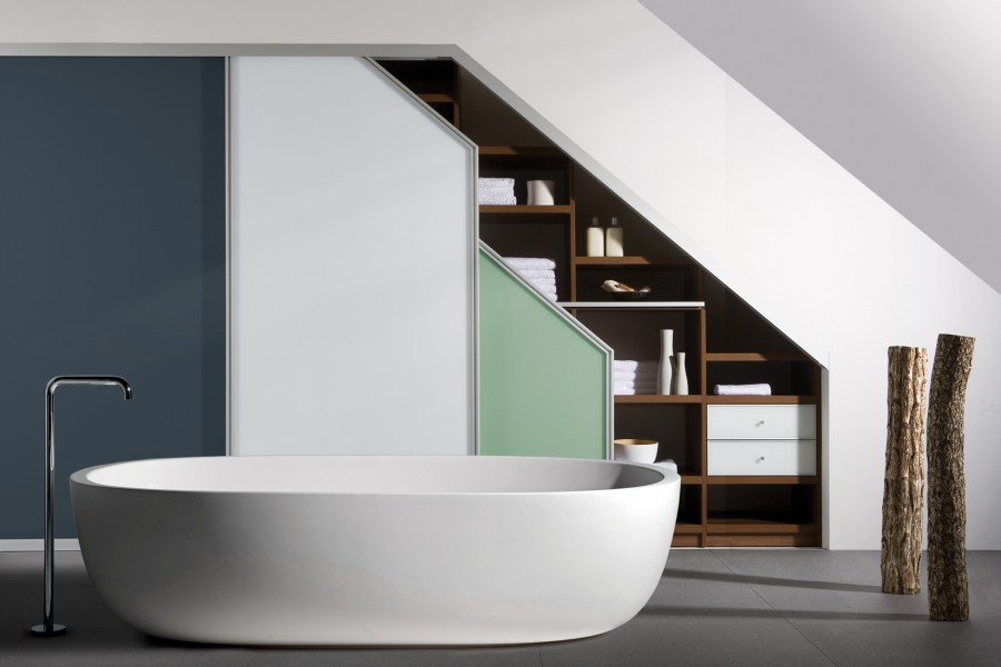 Custom sliding angled wardrobes in a bathroom