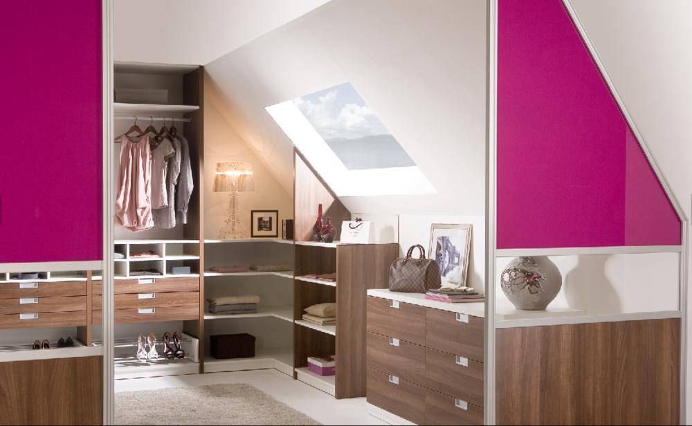 Angled wardrobes with sliding doors