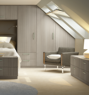 Custom bedroom furniture with angled doors