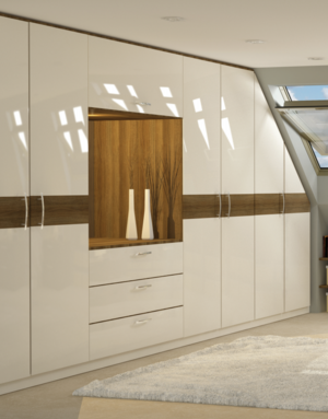 Custom fitted wardrobes with angled doors