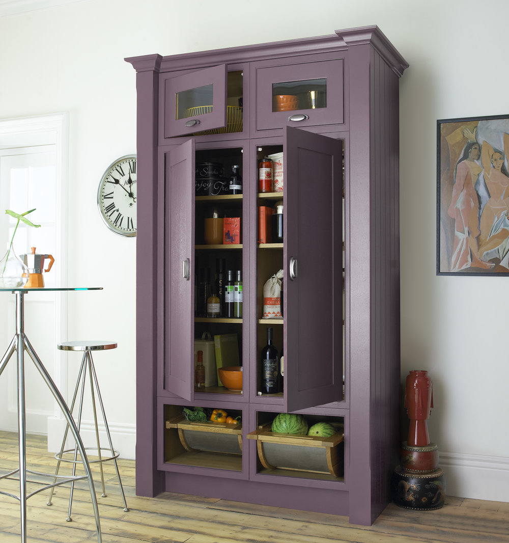 Larder in painted Plum. English Revival by Mereway available at Deane
