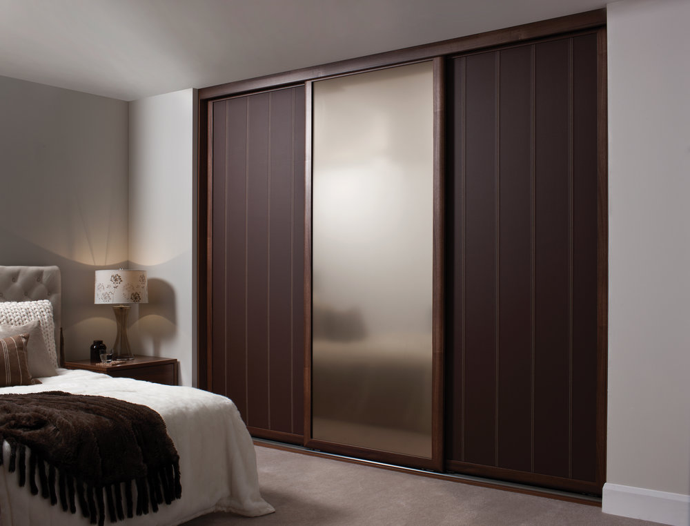 Dark Walnut Rio with Leather Line designer panels and Bronze frosted mirror