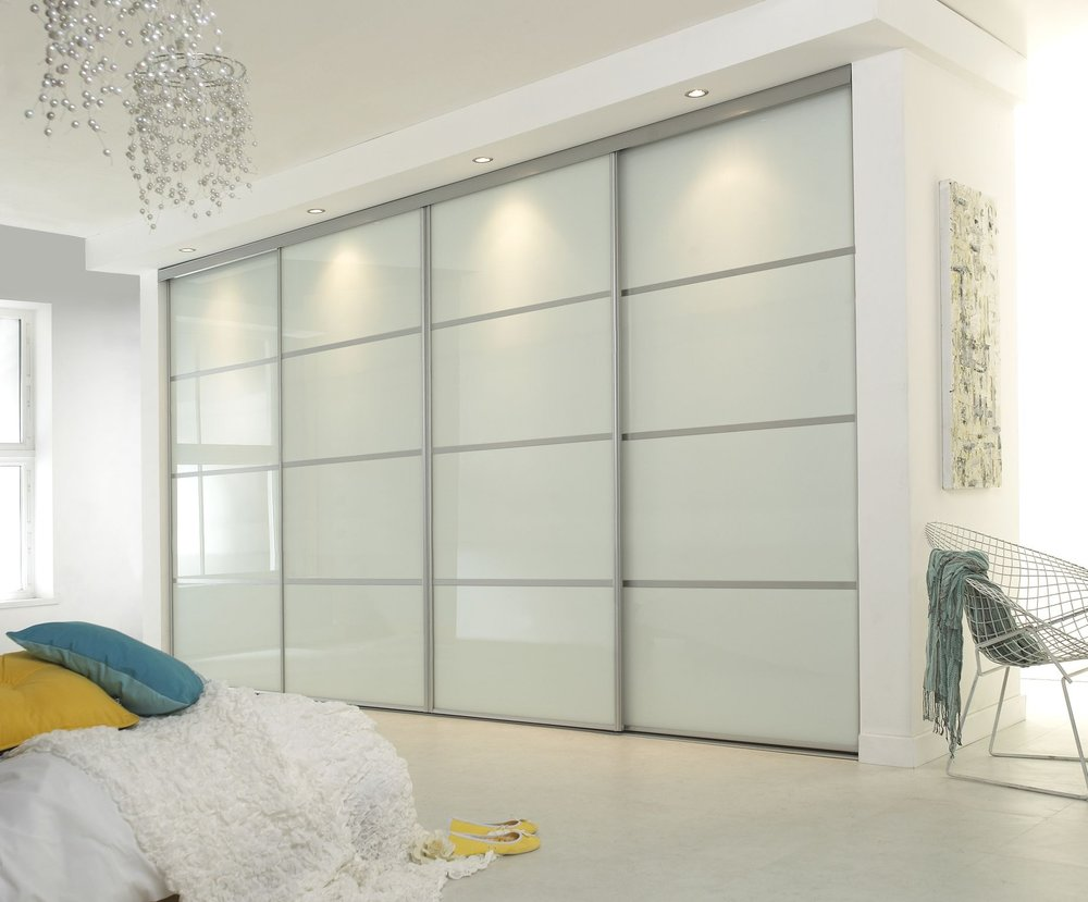 Pure White Glass in a Metro sliding doors