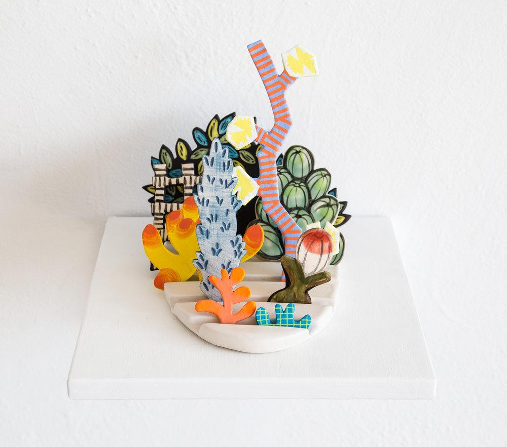Tender Horizon    Porcelain, flashe, wooden shelf; Approximately 5.5 x 7 x 8 inches 2017