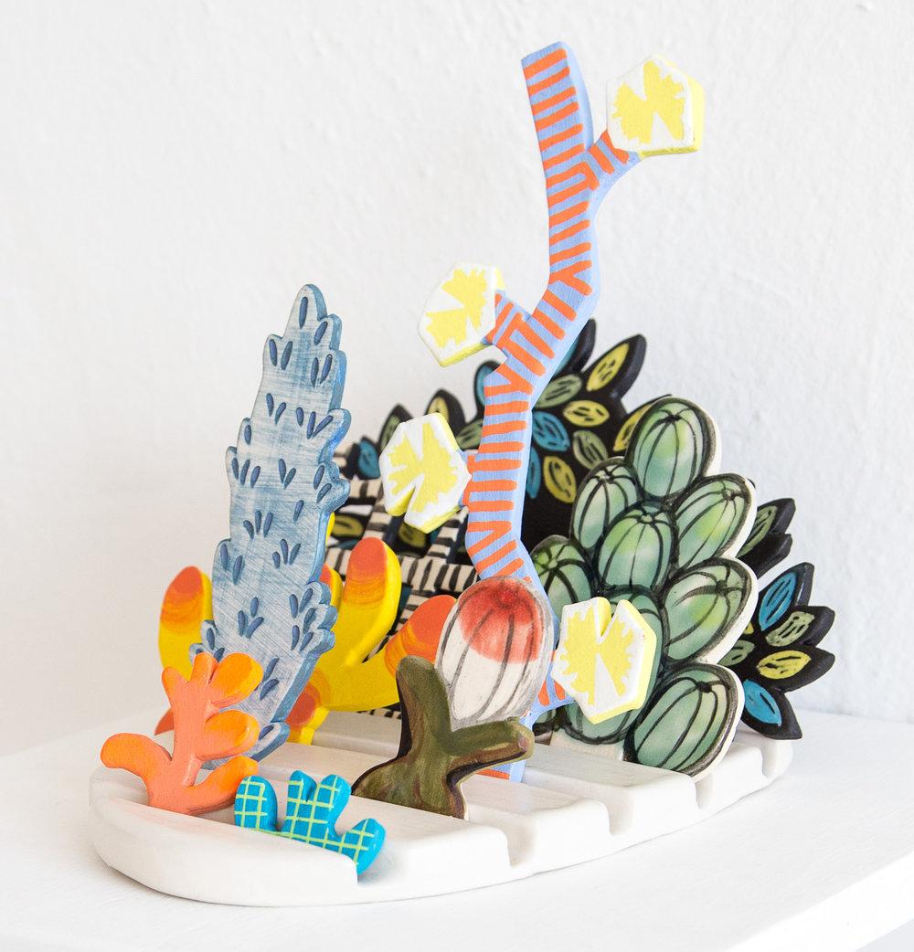 Tender Horizon    Porcelain, flashe, wooden shelf; Approximately 5.5 x 7 x 8 inches; 2017
