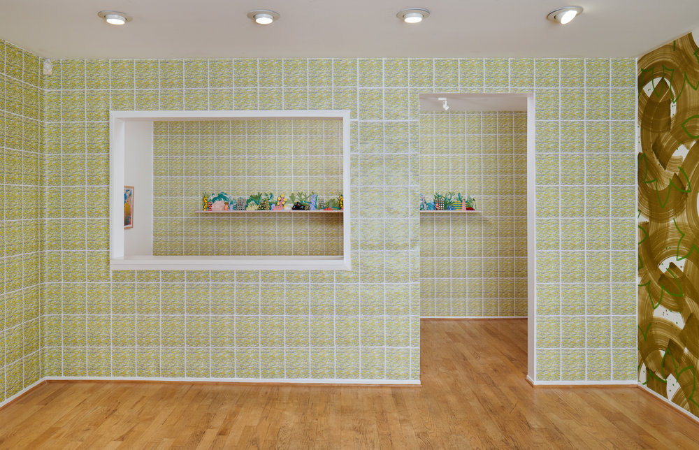 works from left to right:    Horizon Allsorts  , (2018) Six floating wood shelves, painted muslin, ceramic, underglaze and glaze; 12ft x 1ft x 9inches    Sloppy Espalier  , (2018) detail; Painted muslin wall covering, painted and cut muslin garland, wood blocks, painted magnets; 22ft x 9ft  This installation includes wall paper by Devon Tsuno