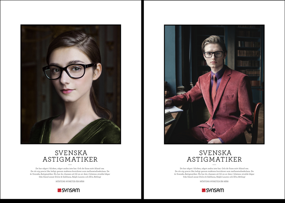 Translation of the Print:  SWEDISH ASTIGMATICS. They have something in their gaze, something others do not have. Walking amongst us. They move just as easily through the corridors of power as the corridors of a middle school. They are the Swedish astigmatics. Now is your chance to become one of them in the autumn selected frames from including Dolce & Gabbana, Ralph Lauren and Efva Attling.