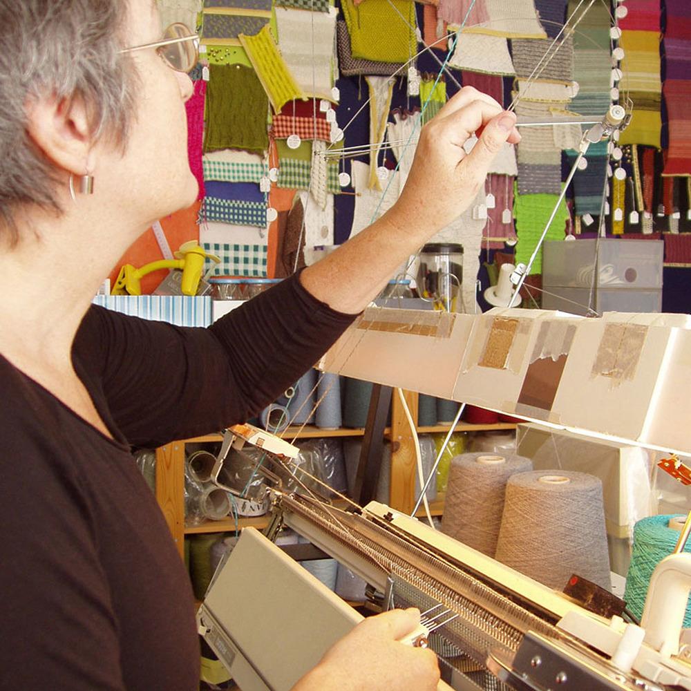 Susan Holton Knitwear - Sue working at her machine