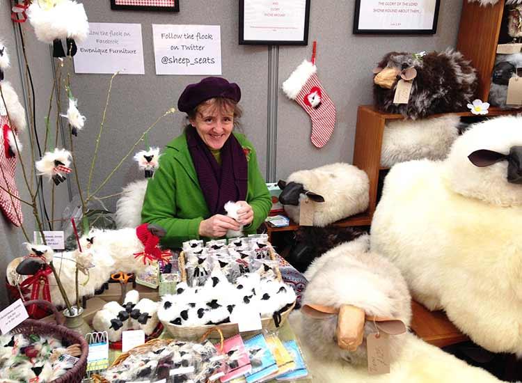 'Ewenique' furniturealongside my knitwear at Wisley