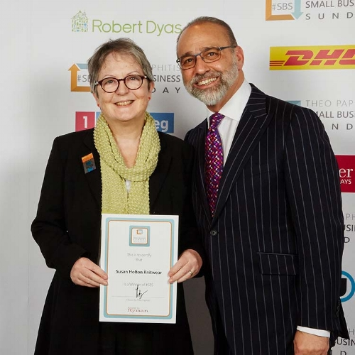 Susan-Holton-Knitwear-SBS-winner-with-Theo-Paphitis