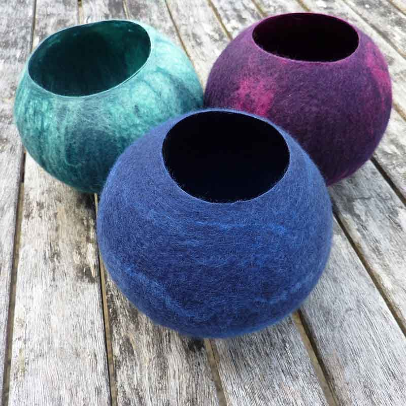 Nancy Shafee at Flights of Fantasy makes beautiful homewares in felt, like these felted bowls