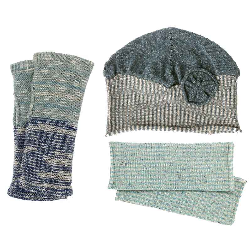 Blue green hat and wrist warmers from Susan Holton Knitwear