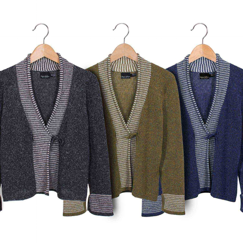 Soft knitted wrap and tie jacket with stripy front from Susan Holton Knitwear