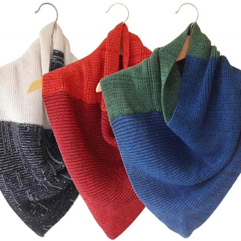 Silk cotton and linen soft triangle snood scarves from Susan Holton Knitwear