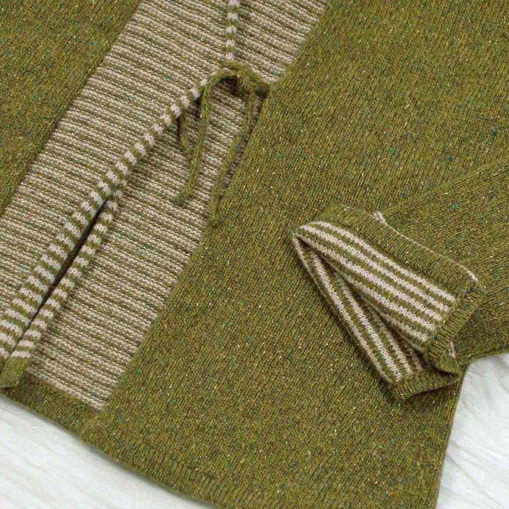 Silk and wool stripy jacket in olive green from Susan Holton knitwear