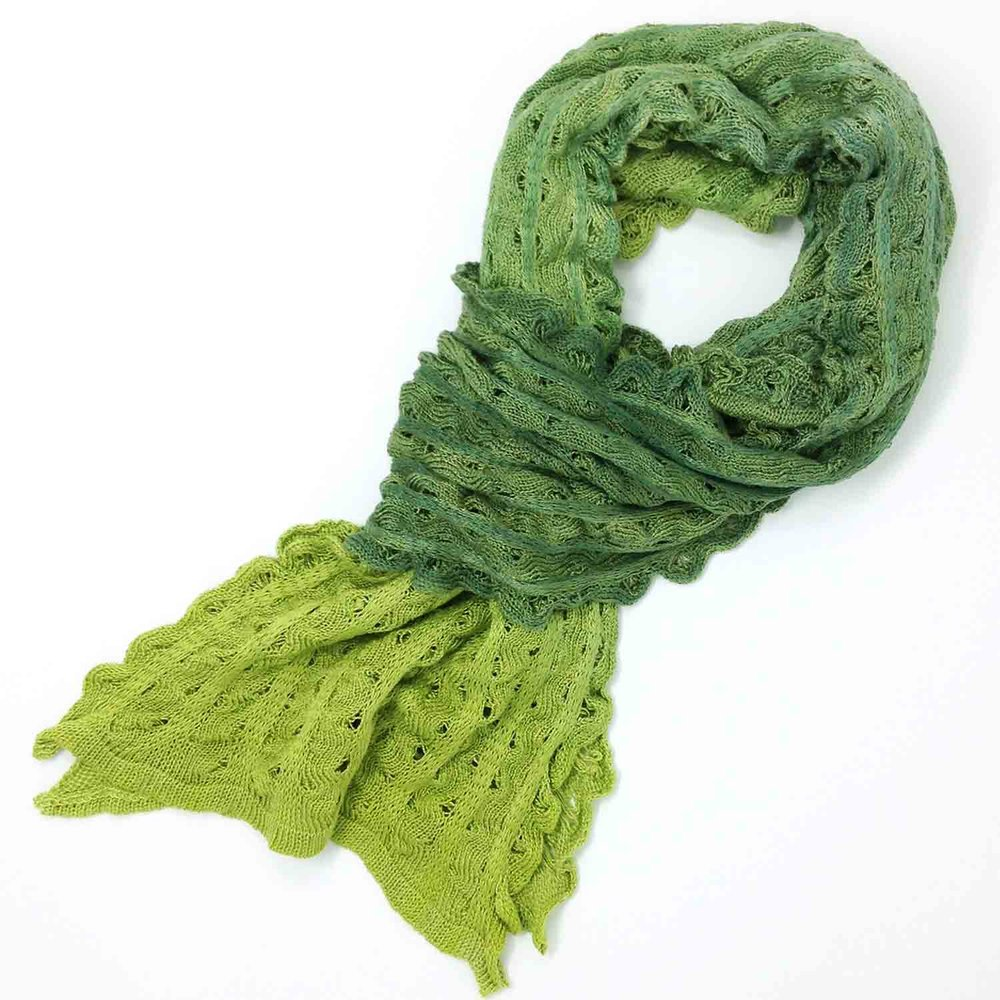 Pure silk hand painted ripple scarf in olive and lime from Susan Holton knitwear