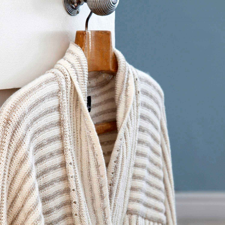 Ridge and furrow soft cotton jacket from Susan Holton knitwear