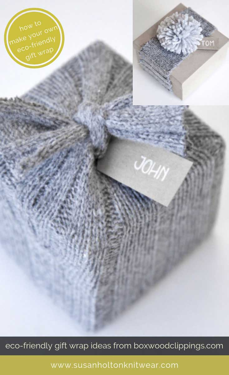 How to DIY your own stylish knitted gift wrap - from discarded knitwear - creative and eco-friendly. Fun and #sustainable easy ways to #wrap your gifts #eco #friendly #DIY #handmade #Christmas #gift #wrapping #ideas