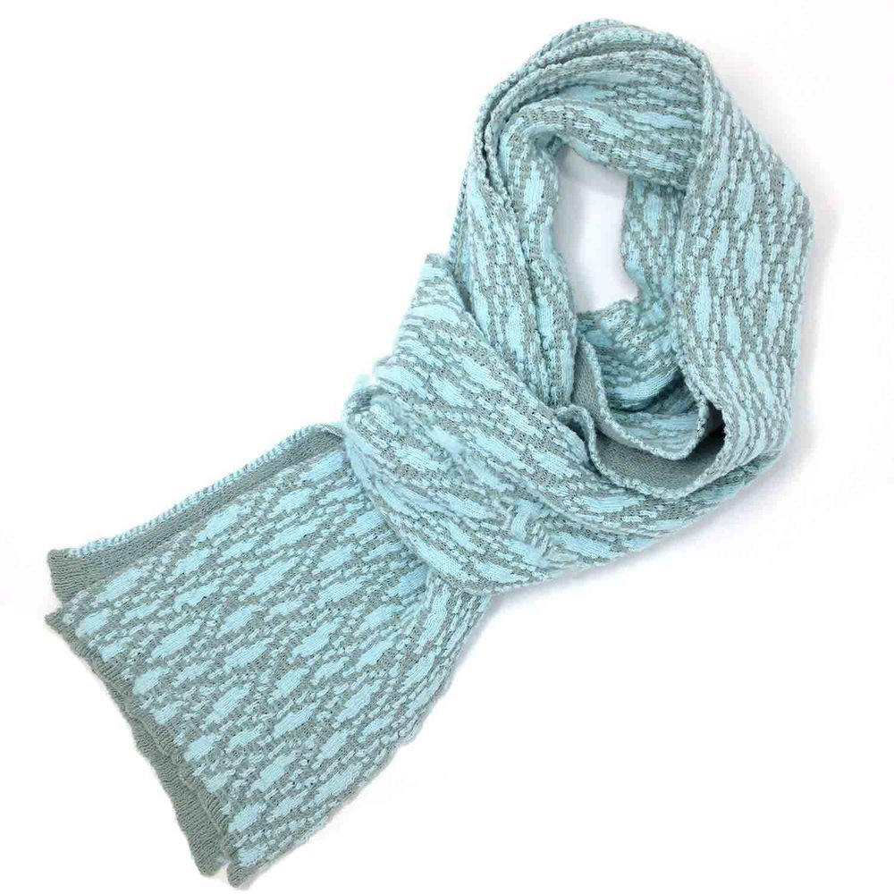 Very long cotton soft textured scarf in ice blue from Susan Holton Knitwear
