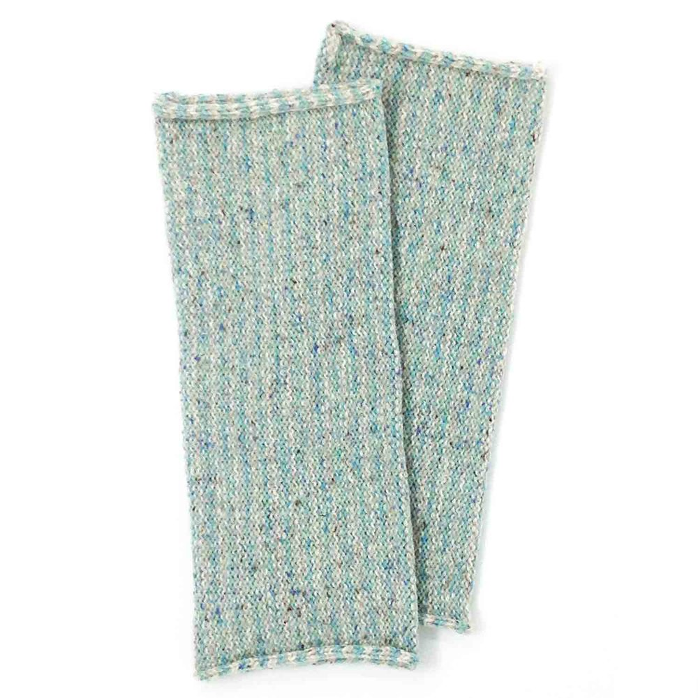 Wool and silk soft stripy wrist warmers in pale turquoise from Susan Holton Knitwear