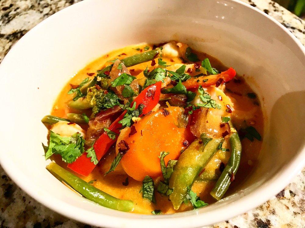 Coconut Curry Shrimp and Veggies