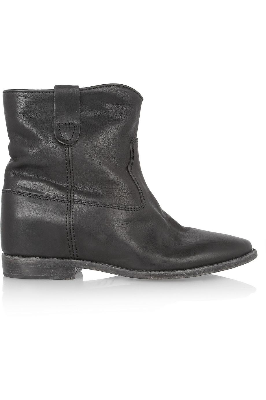 ISABEL MARANT Cluster leather concealed wedge biker boots, $845,  net-a-porter.com