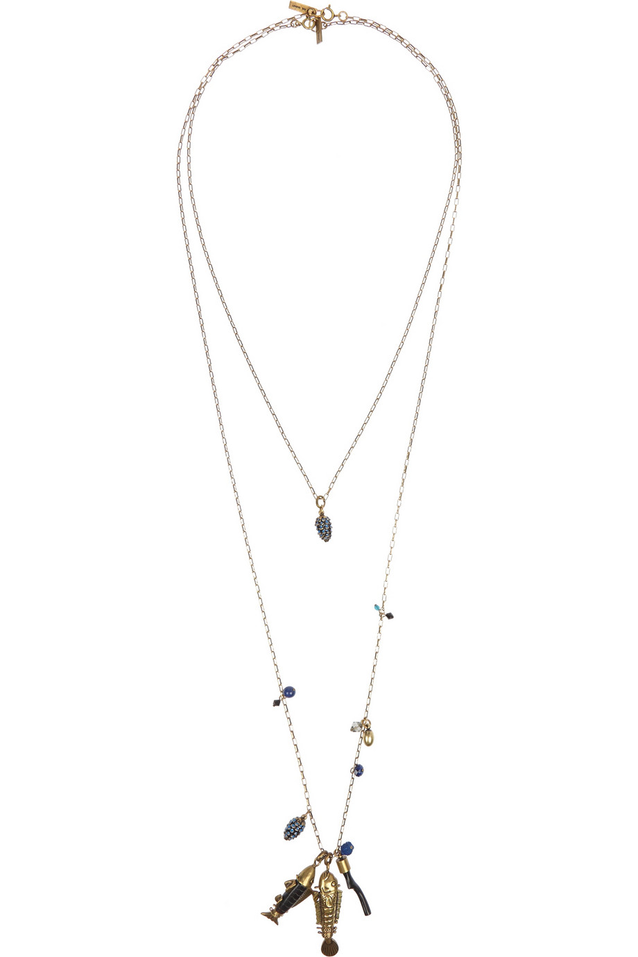 ISABEL MARANT Set of two gold-tone, crystal and horn necklaces,$345,  net-a-porter.com