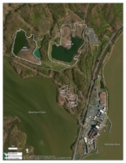 Aerial view of coal ash ponds at Dominion's Possum Point power plant on Quantico Creek near the Potomac River.