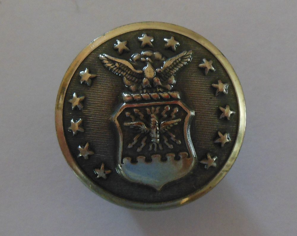 The Air Force was part of the Army until after WWII.  If you find this button in gold, it was a transitional period button dating from 1945 until 1952.  After 1952, the buttons were silver.