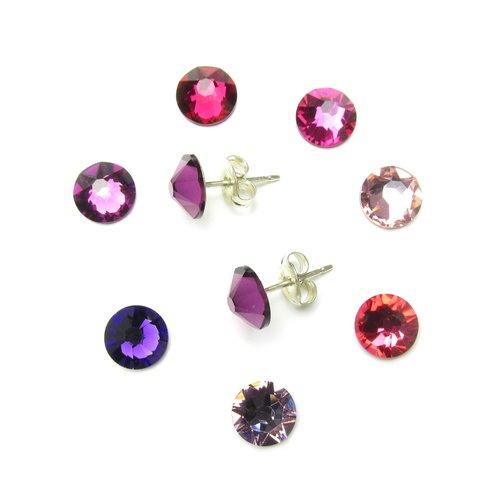 20bda39fc Bridesmaid stud earrings swarovski crystal sterling silver purple amethyst pink  fuchsia cerise rose light pink.