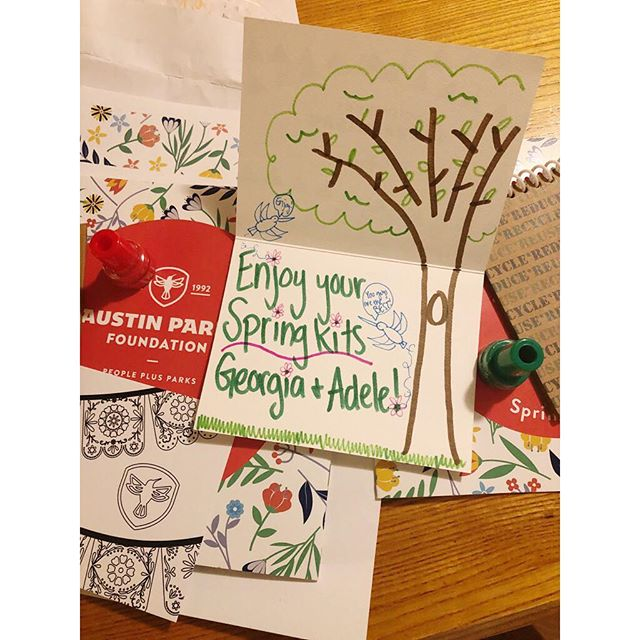 The girls are excited for the spring Little Hummingbird member goodies from @austinparksfdn this month! If you have young kiddos and live in the Austin area, I highly recommend joining this program as a supporter... so fun for kids and you're helping our amazing parks. Check it out!