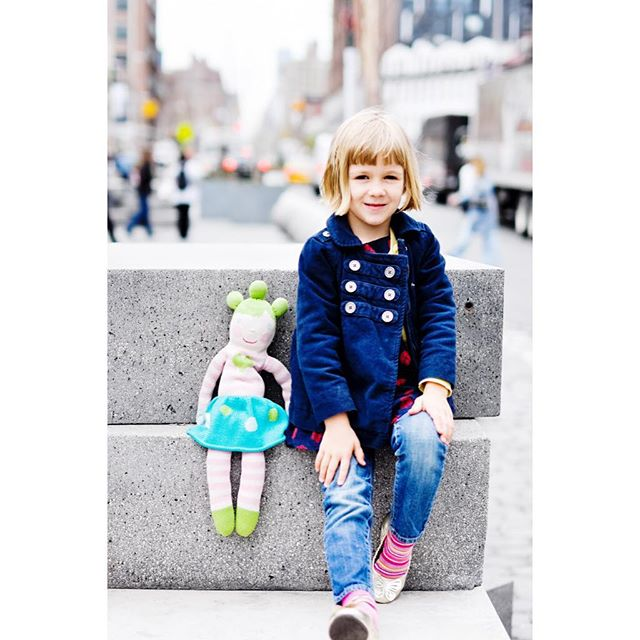 Georgia, age 5, with her beloved Coco on her first birthday trip to visit her godmother @amandanyc67 in NYC.