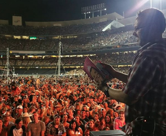 Doug Cenko reading from MY PAPA IS A PRINCESS at Dodger Stadium, July 2018