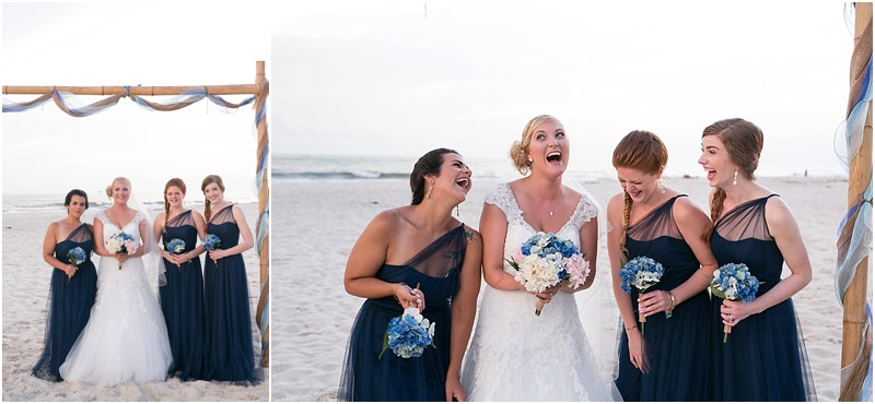 Bridesmaids and Bride Laughing