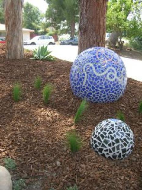 Black and Blue Garden Balls