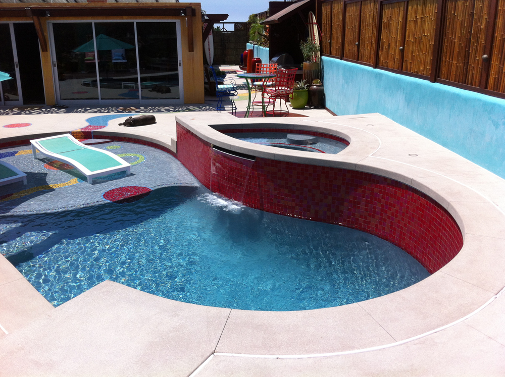 Mosaic Tile Walkway and Baja Pool Deck
